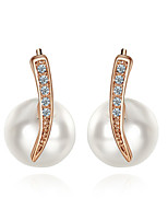 T&C Women's Concise 18K Rose Gold Plated White Simulated Pearl Wedding Stud Earrings