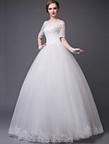 プリンセスライン ウェディングドレス ホワイト レース ストラップレス フロア 丈