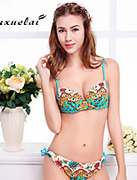 OUXL®Women's Padded Bras/Underwire Bra Color Block/Floral/Dot/Ruffle/Geometric Bandeau Tankinis (Nylon/Polyester)