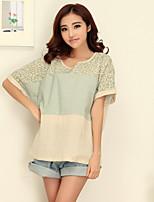 Women's Casual Print Cute Micro Elastic ½ Length Sleeve Regular T-shirt (Cotton)
