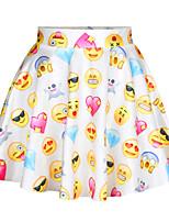 De las mujeres Faldas - Mini Casual/Con Estampado Elástico - Poliéster