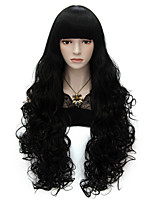 80cm Long Flat Bang Full Black Curly heat resist Synthetic Cosplay Hair Party Wig