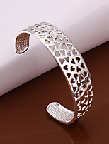 Euramerican Fashion Heart Shaped Silver Plating Opening Adjustable Round Bracelet (Silver)(1Pc)
