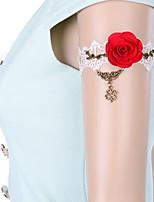 Vintage Red Rose Hollow Clover  Bracelet
