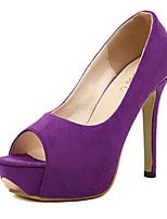 Women's Shoes Stiletto Heel Heels/Peep Toe Sandals Outdoor/Dress Black/Purple