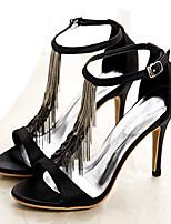 Women's Shoes Silk Stiletto Heel Heels Sandals Wedding/Party & Evening/Dress Black/Blue/Green