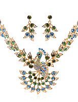 Ever.Popular Animal Peafowl Peacock Necklace Earring Set with Austrian Crystal (More Color)
