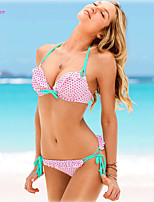 Women's Halter Bikinis , Dot/Ruffle/Bandage Push-up/Underwire Bra/Padless Bra Polyester/Spandex Multi-color
