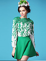 Women's Floral Green T-shirt , Round Neck Long Sleeve Lace