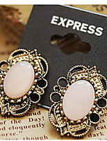 Retro Court Style Hollow Lace Precious Stone Stud Earrings