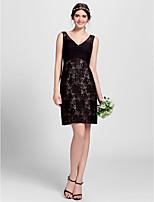 Homecoming Knee-length Lace Bridesmaid Dress - Black A-line V-neck