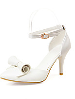 Women's Sandals Basic Pump Summer PU Wedding Party & Evening Office & Career Dress Buckle Chunky Heel White Blue Blushing Pink Almond