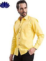 2015 Fashion Yellow Men Shirts, Black Button, Long sleeve,Solid Color,Turn-down Collar, Single Breasted (1203)