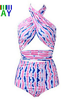 ZAY Women's Sexy Multicolor Stripe Halter Bikinis Plus Size