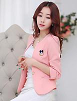 Women's Solid Pink/White/Black Blazer , Party Crew Neck ¾ Sleeve