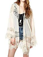 Women's White Coat , Sexy Long Sleeve Chiffon