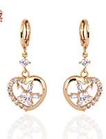KuNiu Women's 18K Gold Plated Lovely Heart Earrings ER0218
