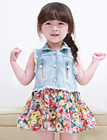Girl's Summer Floral Denim Stitching Sleeveless Dress (Cotton Blends/Denim)