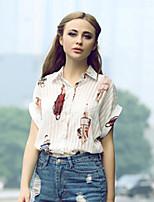 Women's Vogue Print Lapel Batwing Sleeve All Match Loose T-shirt