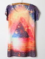 Women's Galaxy Multi-color T-shirt , Round Neck Short Sleeve