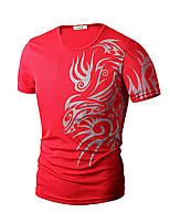 Herren Freizeit / Büro / Formal / Sport / Übergröße T-Shirt  -  Druck / Einfarbig Kurz Baumwollmischung