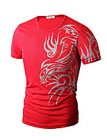 Men's Short Sleeve T-Shirt , Cotton Blend Casual / Work / Formal / Sport / Plus Sizes Print / Pure
