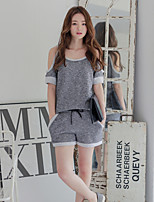 Women's Gray Vintage/Sexy/Casual Short Sleeve
