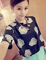 Women's White/Black Blouse Short Sleeve