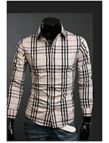 Men's Casual/Work/Formal Pure Long Sleeve Regular Shirt (Acrylic/Cotton Blend/Lycra)
