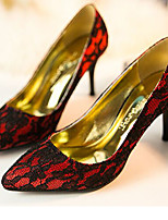 Women's Shoes Lace/Tulle Stiletto Heel Heels/Pointed Toe Pumps/Heels Wedding/Dress Black/Red/White/Beige