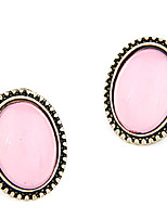 Antique Copper Alloy Acrylic Oval Pattern Earrings