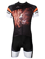 PaladinSport Men's  Cycyling Jersey + Shorts  Bike Suits DT551 Brown Bear