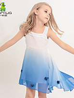 KAMIWA Girl's Summer Floral Gradient Princess Sleeveless Dresses Irregular Children's Knee-Length Kids Skirts(Chiffon)