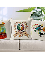 Set of 3 Country Birds Patterned Cotton/Linen Decorative Pillow Covers