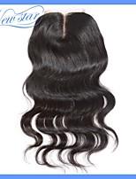 mejor calidad 6a nuevos encierros superiores del cordón remy peruana onda cuerpo pelo virginal estrellas 4 * 4 parte media
