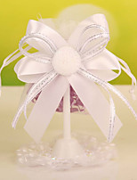 Organza Wedding Candy Bags Party Favor Gift Bags with Plastic Holder &Ribbon Flower Set of 12