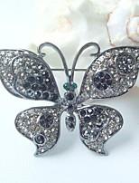 Women Accessories Black Gray Rhinestone Crystal Butterfly Brooch Art Deco Crystal Brooch
