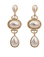Women's Elegant Classic Oval Water Drop Pearl Pendant Stud Earrings HJ0034
