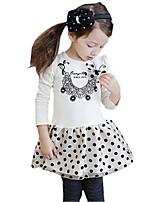 Kids Girls Fall Spring Long Sleeve Bow Polka Dots Mini Tutu Party Dress (Cotton Blend)