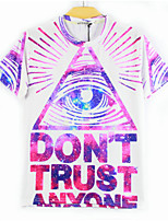 European Style TEE Digital Printing 3D T-shirt White Triangle Eye Harajuku Sleeved T-shirt