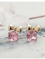Austrian Crystals Rubik's Cube Bowknot Stud Earrings