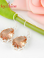 Drop Fire Morganite Gem Prong Setting Earring Drop Earrings For Wedding Party Daily 1pair