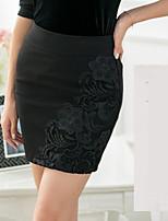 Women's Sexy/Bodycon/Print/Work Stretchy Above Knee Skirts (Roman Knit)