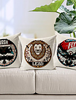 Set of 3 Modern Style Cartoon Animals Patterned Cotton/Linen Decorative Pillow Covers