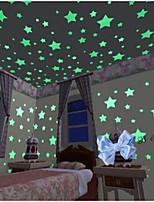 100pcs / set decalques estrelas luminosas adesivos de parede arte (3 centímetros)