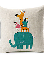 Modern Style Cartoon Elephant Patterned Cotton/Linen Decorative Pillow Cover