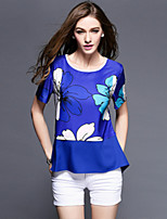 Fashion Women Summeer Vintage Casual Print Plus Sizes Short Sleeve Blouse Shirt Tops