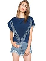 Women's Casual Micro-elastic Short Sleeve Regular T-shirt (Polyester)