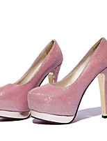 Women's Shoes Faux Leather Stiletto Heel Heels/Round Toe Pumps/Heels Wedding/Dress/Casual Black/Pink/White/Silver/Gold