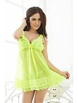 Sexy Lingerie Women Underwear Babydoll Sleepwear Yellow Nightwear Dress G-String